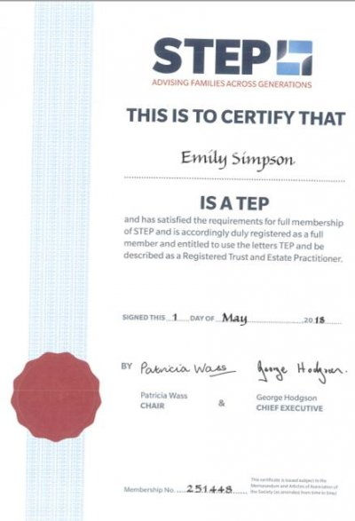 Emily Simpson has now become a full member of STEP (Socie...